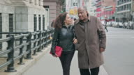 Happy Senior African-American Couple Walk in the City video