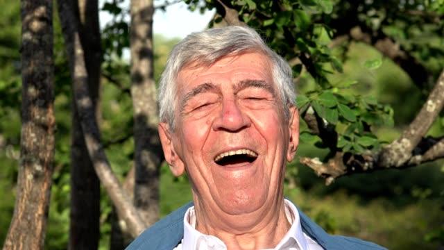 Happy Smiling Elderly Old Man Or Senior video