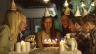 Happy Smiling Girl Blowing Candles out on her Birthday Cake. Girl Surrounded by Her Family and Friends video