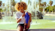 Happy Smiling Girl With Afro Haircut video