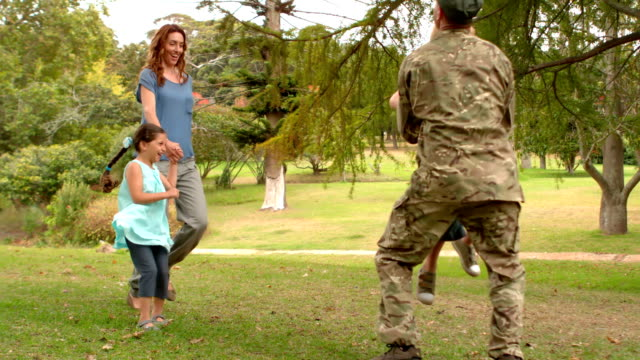 Happy soldier reunited with his family video