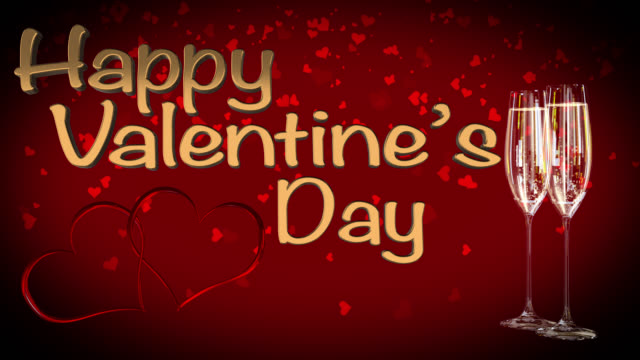 Happy St Valentine's Day with two linked hearts seamless loop video