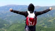 Happy success winner, life goal success hiker man video