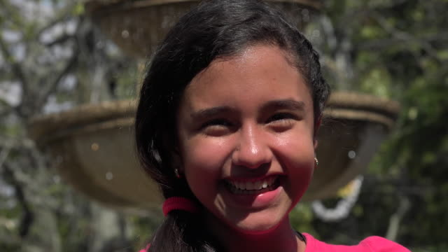 Happy Teen Girl at Park Fountain video