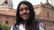 Happy Teen Girl Near Church video