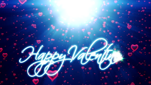 Happy Valentine, holiday background with red hearts falling video