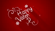 happy valentine's day text flat style animation video