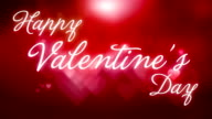 Happy Valentine's Day text on red hearts background video