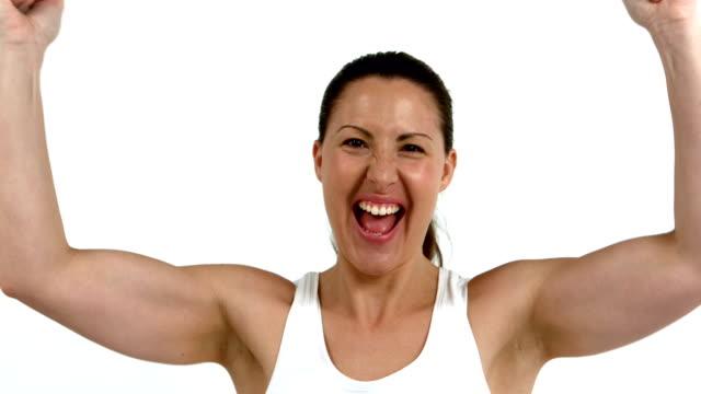 Happy woman cheering video