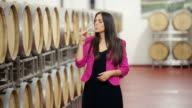Happy woman in a wine cellar video