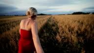 Happy Woman Pulling her boyfriend in a Wheat Field video