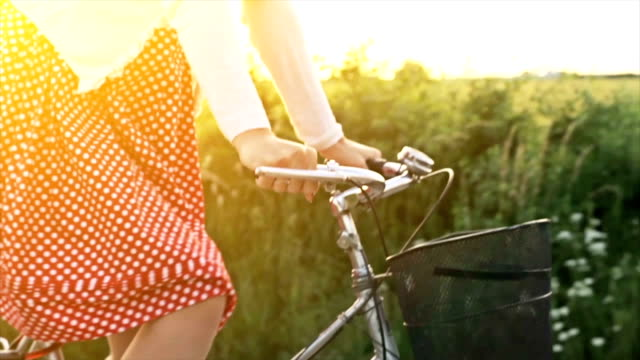 Happy Woman Riding Bicycle Summer Sunset Nature Outdoors video