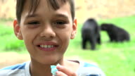 Happy Young Boy At Zoo video