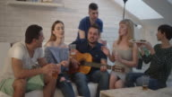 Happy Young People At Home Party. video