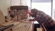 Hard at work in the woodshop video