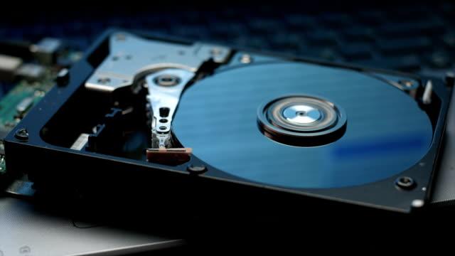Hard disk drive data reading reflection video