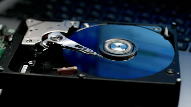 Hard disk drive with reflection of desktop with data video