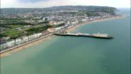 Hastings Pier  - Aerial View - England,  East Sussex,  Hastings District,  United Kingdom video
