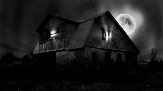 Haunted Mansion Scene, Full Moon, Magic Light, Dark Clouds, Seamless Looping Video. Black-and-White old horror movie style. video