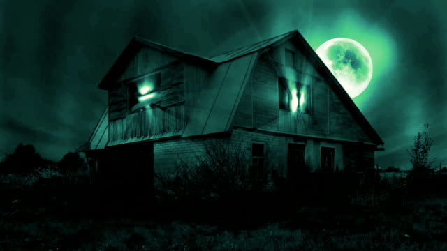Haunted Mansion Scene, Full Moon, Magic Light, Dark Clouds, Seamless Looping Video. Greeen video