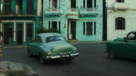 Havana's classical cars at the crossroad waiting to turn video