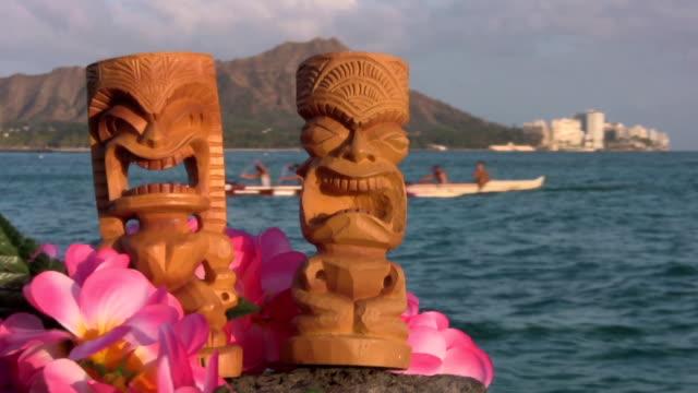 Hawaii tikis waikiki diamond head oahu canoe video