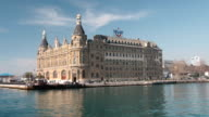 Haydarpasa train station from the sea, Istanbul, Turkey. video