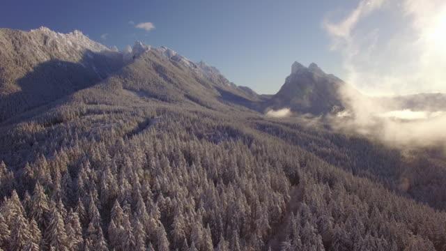 Hazy Winter Aerial of Gunn Peak and Baring Mountain in Washington State video