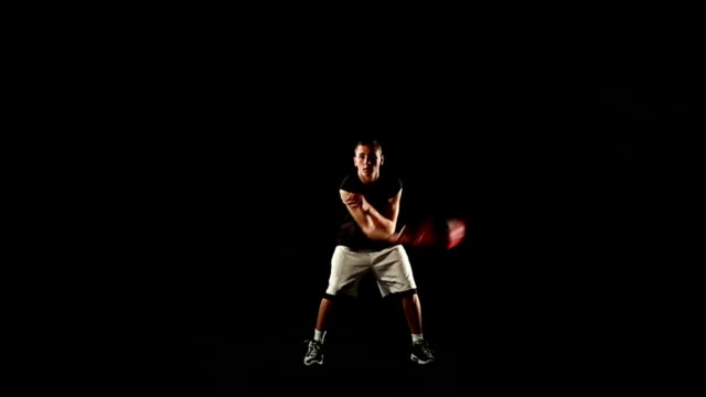 hd video edit young acrobatic basketball plays black background freestyle video