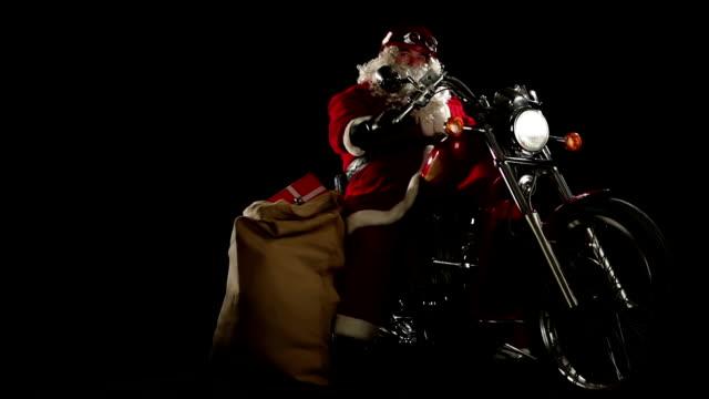 hd video funny Santa Claus rides a motorbike video