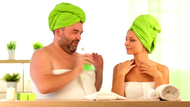 hd video of funny fat man and beautiful girl healthcare video