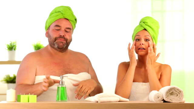 hd video of funny fat man teach healthcare to girl video