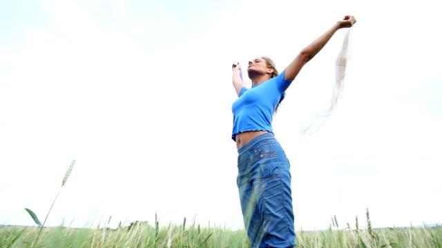 HD720:Woman enjoying windy summer day. video