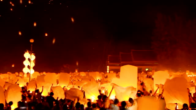 HD:Amazing Loi Kra Tong festival in thailand.(Timelapse) video