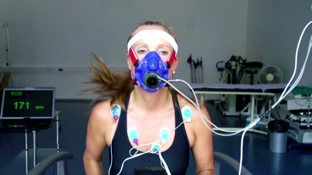 HD:Athlete Performing ECG and VO2 test on Treadmill video