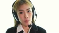 HD:Beautiful asian women operator during working. video