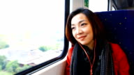 HD:Beautiful asian women travel by train. video