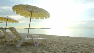 HD:Benches and umbrellas on the beach video