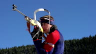 HD:Biathlon competitor shooting during competition video