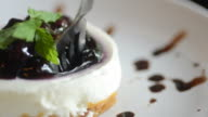 HD:Blueberry cheese cake with serving and cutting cake video