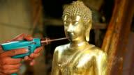HD:Buddish Sculptor works. video