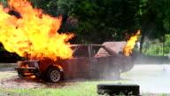 HD:Burning Car. video