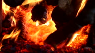 HD:Burning in the fireplace. video
