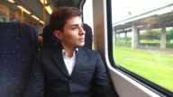 HD:Businessman travel by train. video