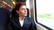 HD:Businessman travel by train. video