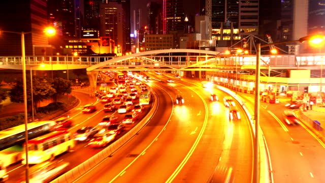 HD:Busy traffic at night in Hongkong.(Timelapse) video