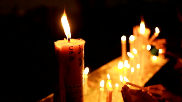 HD:Candles on black background. video