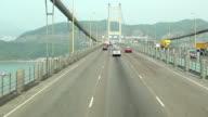 HD:Car driving on Tsing Ma Bridge, landmark bridge in Hong Kong. video