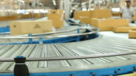 HD:Carton box moving on conveyor rollers. video