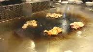 HD:Chef cooking Japanese food 'Teppanyaki'. video